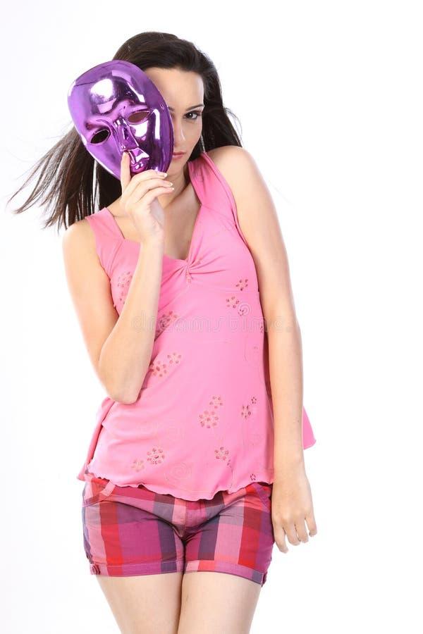 Menina com a máscara imagens de stock