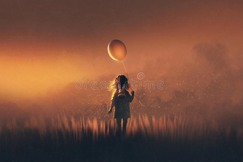 A menina com a máscara de gás que guarda o balão que está nos campos ilustração do vetor