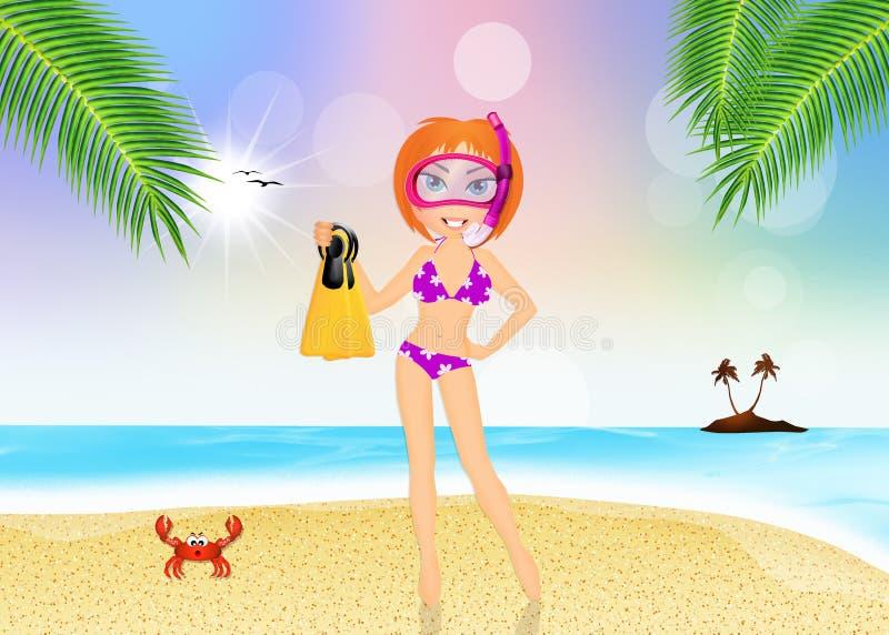 Menina com máscara e aletas do mergulhador ilustração do vetor