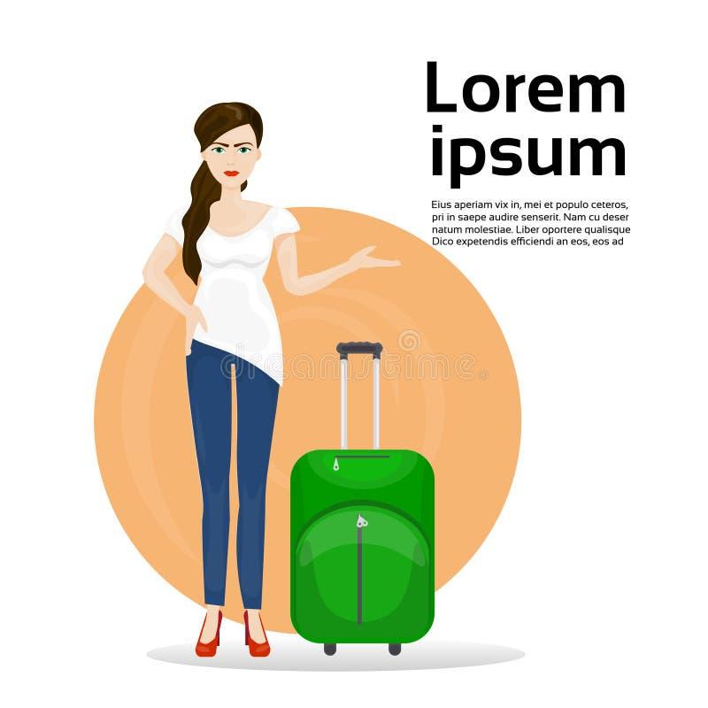 Menina com a mala de viagem da bagagem sobre o fundo com viagem espacial da cópia e conceito do turismo ilustração do vetor