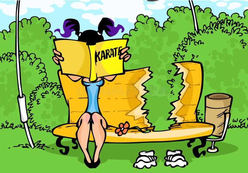 Menina com manual do karaté ilustração stock