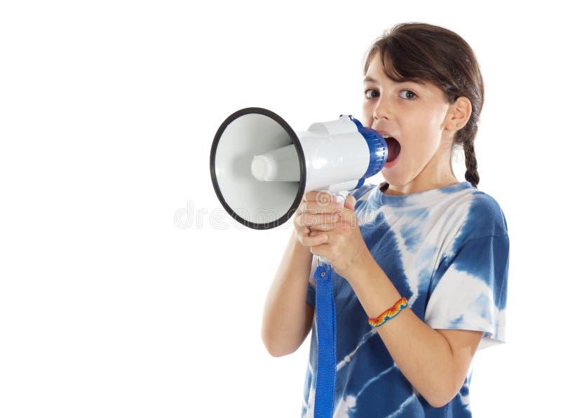 Menina com megafone imagem de stock