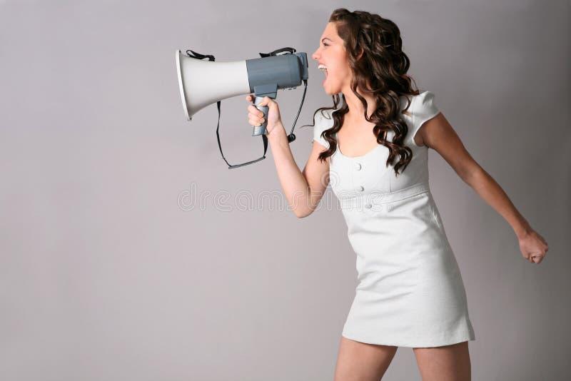 Menina com megafone fotografia de stock royalty free