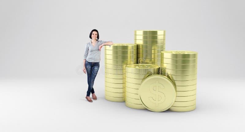 Menina com moedas ilustração stock
