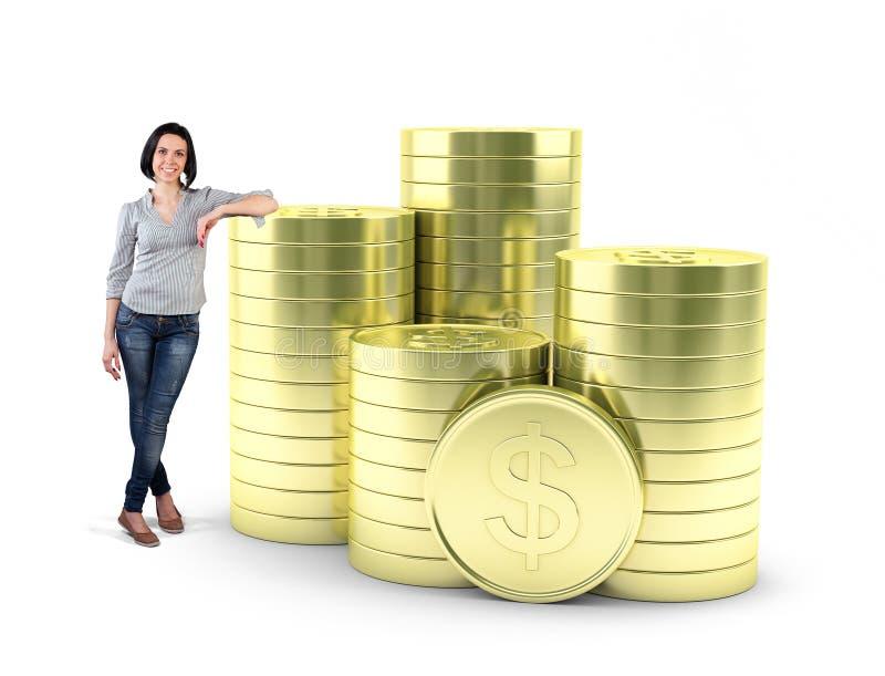 Menina com moedas ilustração do vetor
