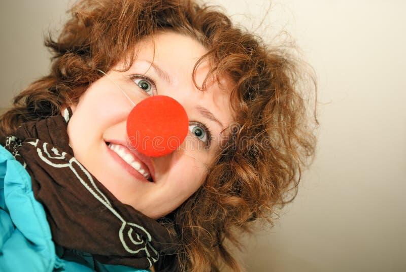 Menina com nariz vermelho imagem de stock
