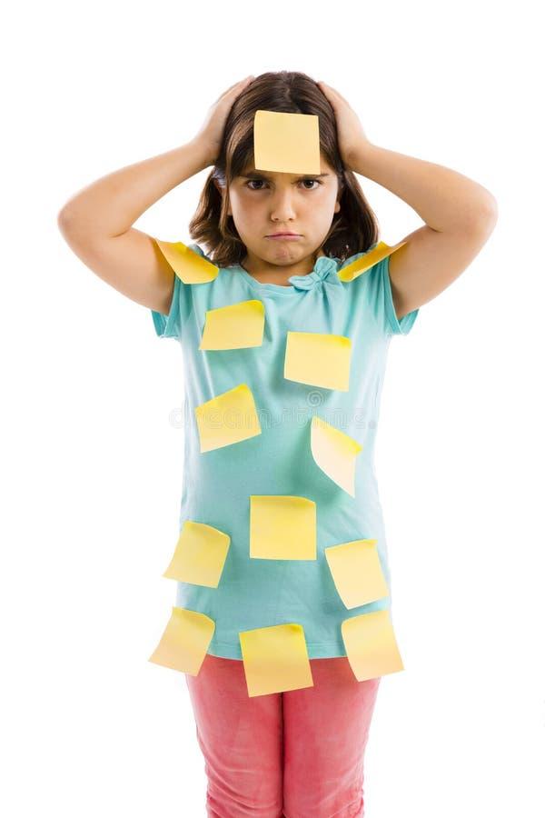 Menina com notas amarelas fotografia de stock