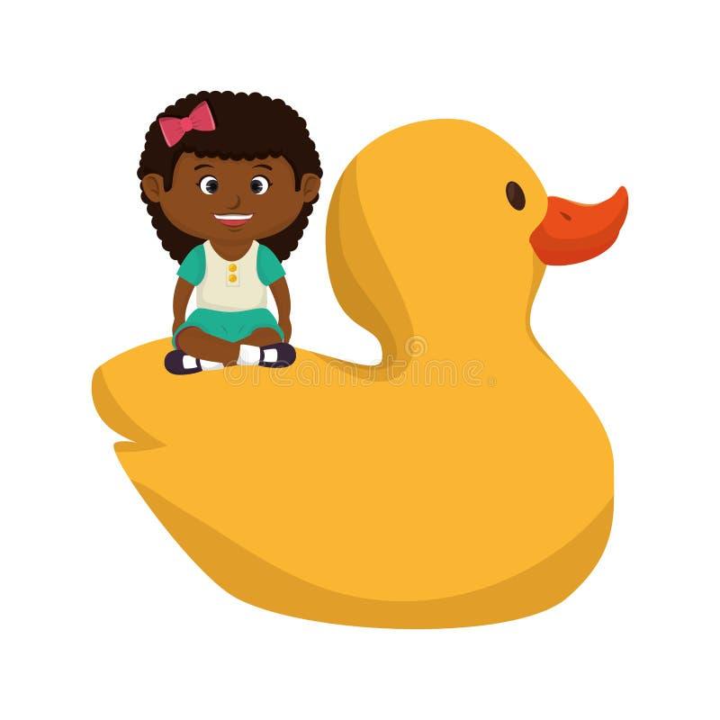Menina com o brinquedo ducky de borracha ilustração royalty free