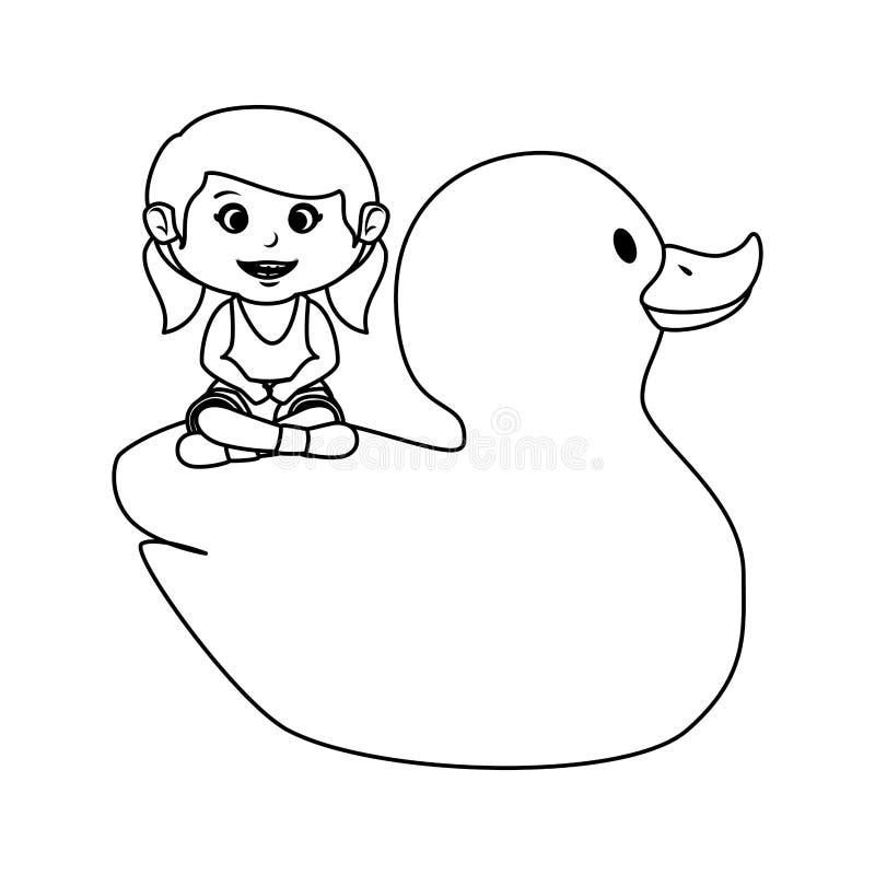 Menina com o brinquedo ducky de borracha ilustração stock