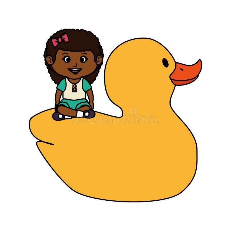 Menina com o brinquedo ducky de borracha ilustração do vetor
