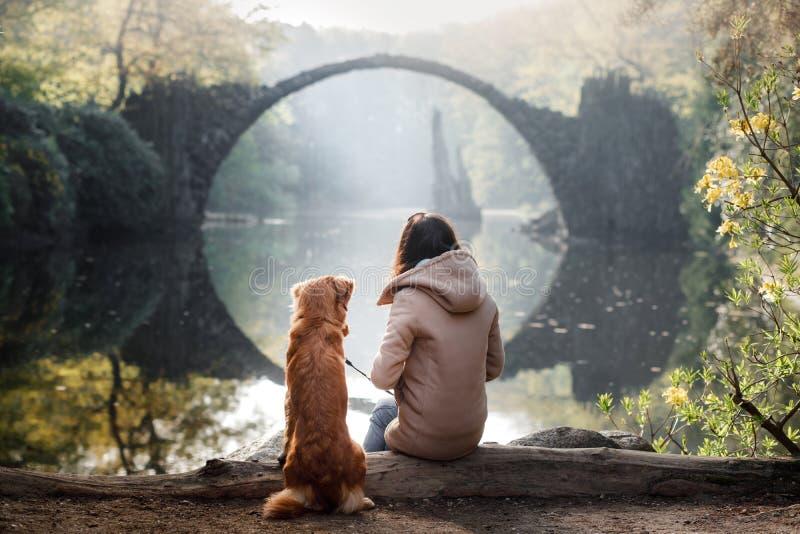 A menina com o cão na ponte O lago no parque imagens de stock royalty free