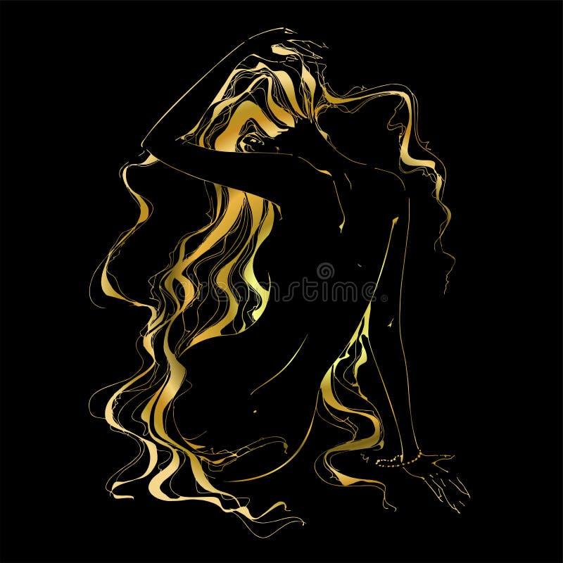 A menina com o cabelo dourado gráficos Ilustração do vetor ilustração royalty free