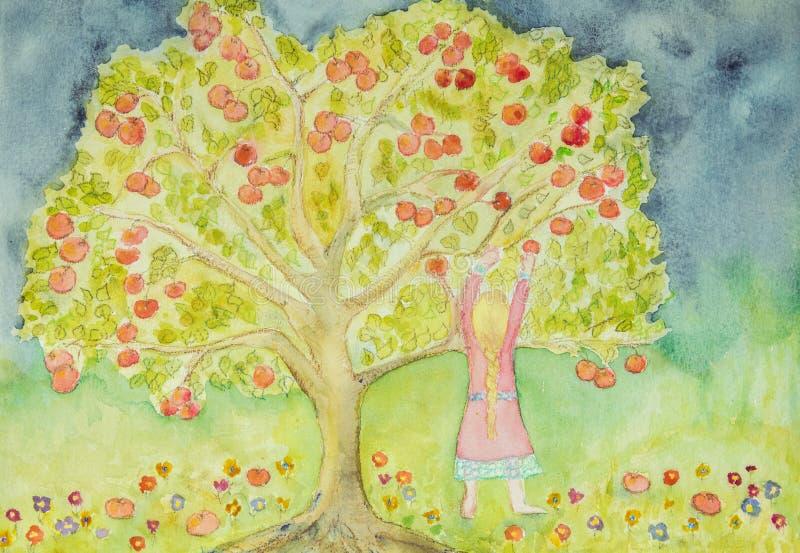 Menina com o cabelo trançado que colhe maçãs ilustração royalty free
