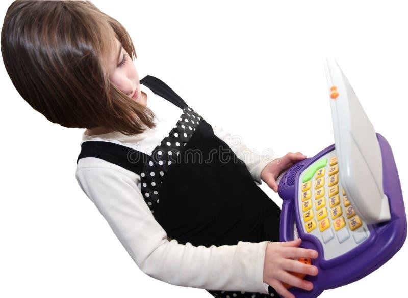 Menina com o computador isolado foto de stock royalty free