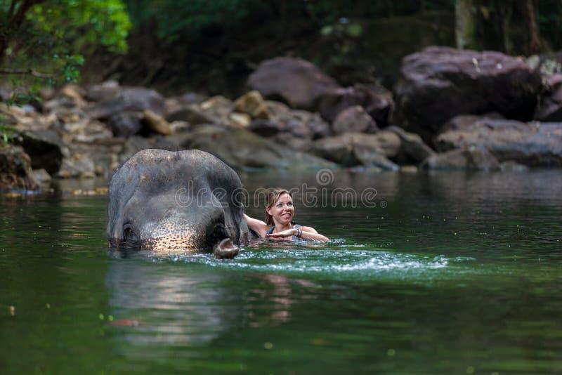 A menina com o elefante imagens de stock royalty free