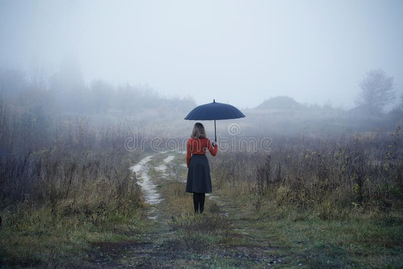 Menina com o guarda-chuva no campo do outono imagem de stock