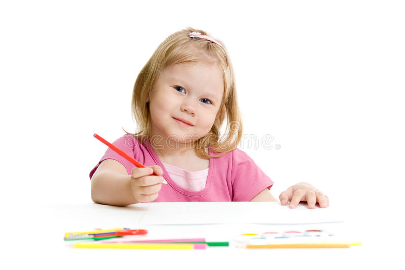 Menina com o lápis vermelho isolado fotos de stock