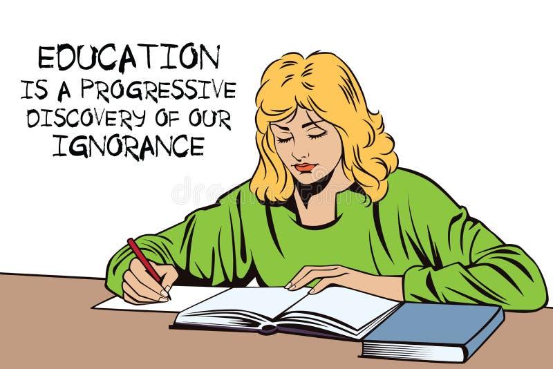 Menina com o livro Estudante na sala de aula Estudante em uma leitura ilustração do vetor