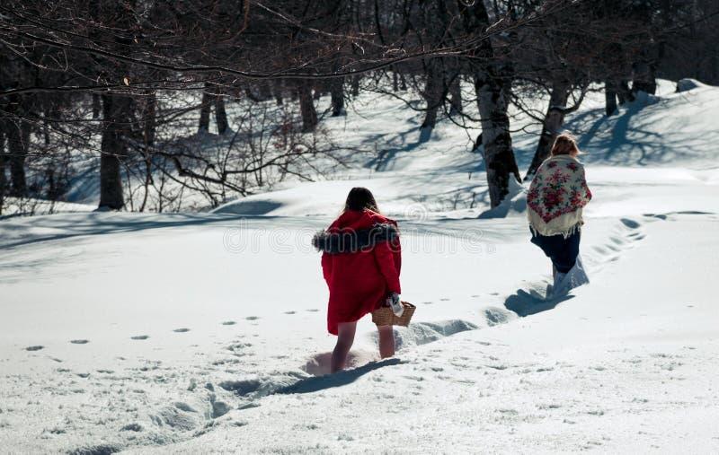 Menina com o mum que anda na neve fotografia de stock