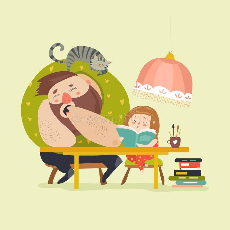 Menina com o paizinho que faz trabalhos de casa ilustração do vetor