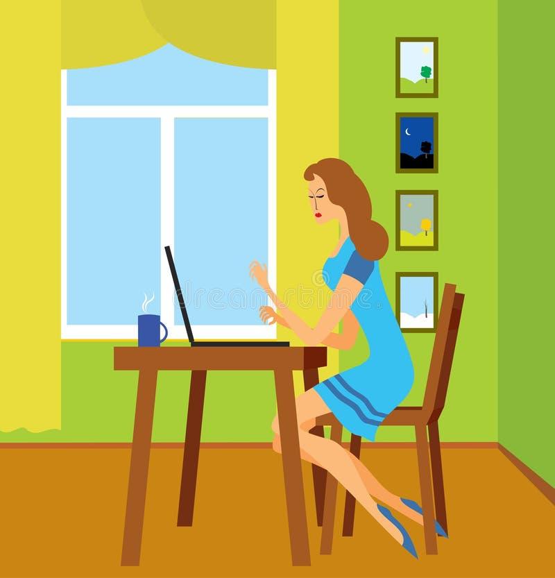 Menina com o portátil foto de stock