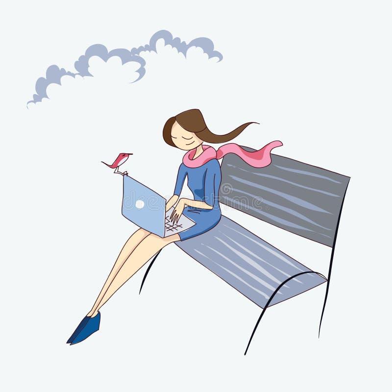 Menina com o portátil na ilustração do vetor do banco ilustração royalty free