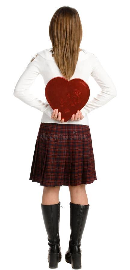 Menina com o presente de um Valentim fotografia de stock