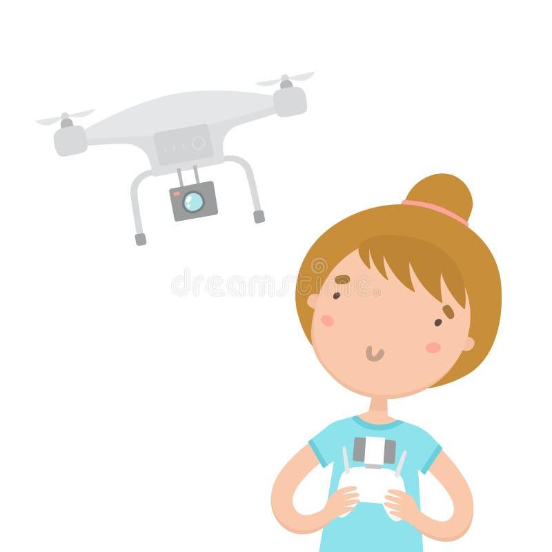 Menina com o telecontrole que controla o zangão aéreo ilustração stock