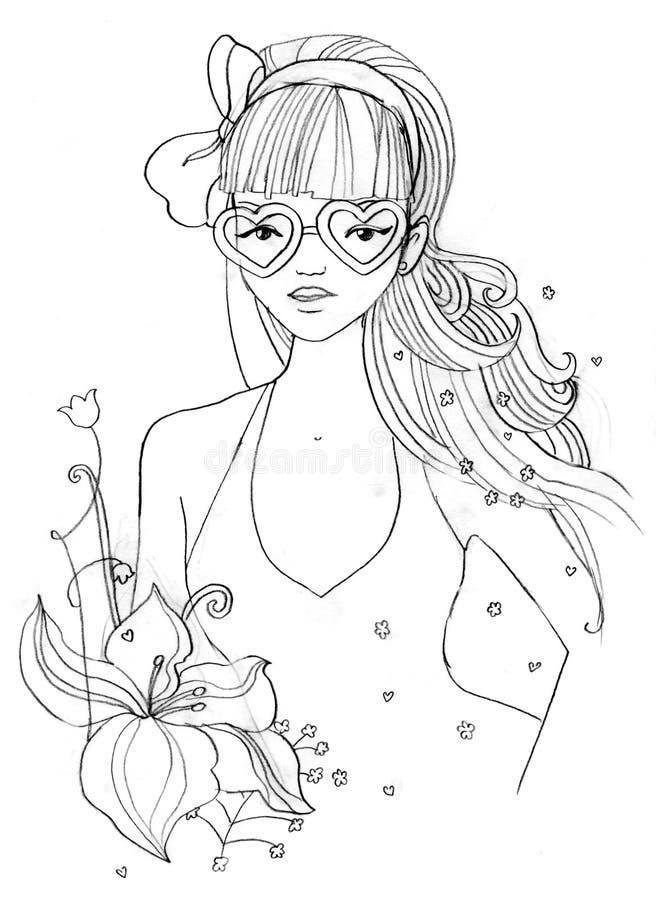 Menina com os Eyeglasses dados forma coração ilustração royalty free