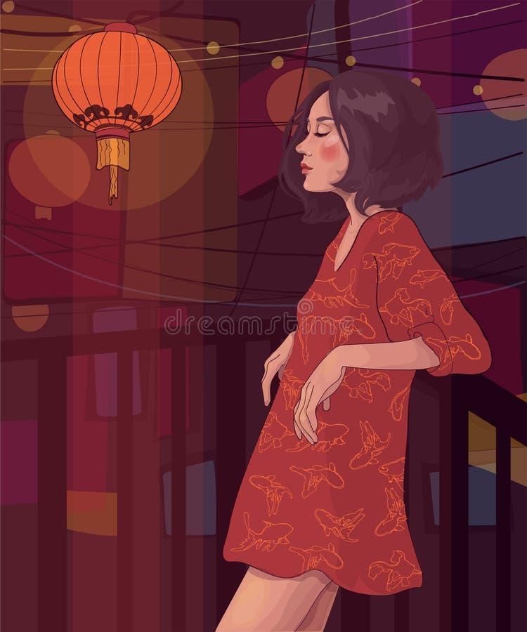 Menina com os quadriláteros de um penteado no balcão na noite ilustração do vetor
