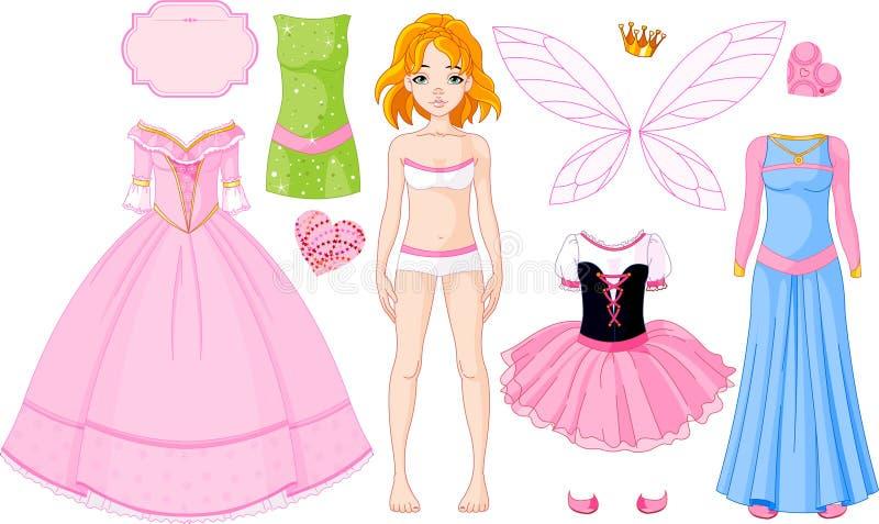 Menina com os vestidos diferentes da princesa ilustração royalty free
