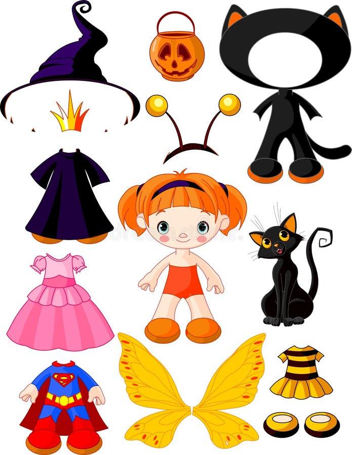 Menina com os vestidos para o partido de Halloween ilustração royalty free