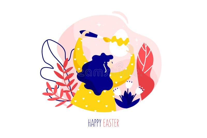 Menina com ovo da páscoa, escova, plantas e flores no fundo branco Cartão do feriado no estilo linear liso na moda Vetor ilustração royalty free