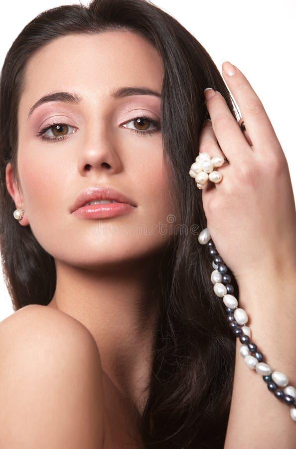 Menina com pérola foto de stock royalty free