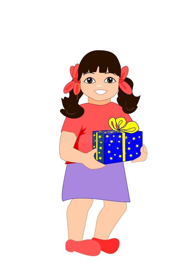 Menina com pacote ilustração royalty free