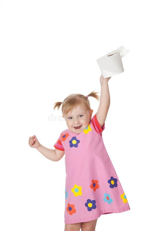 Menina com papel higiénico fotografia de stock royalty free