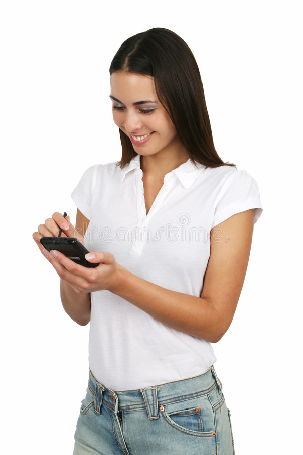 Menina com PDA foto de stock