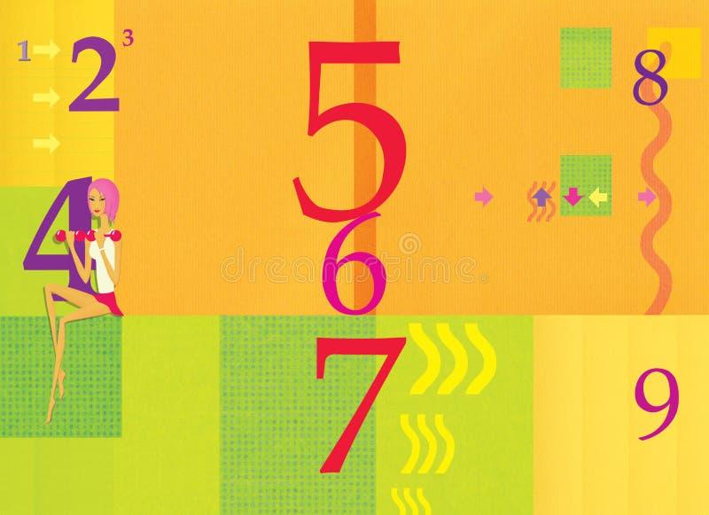 A menina com pesos senta-se à disposição no fundo alaranjado e verde com números verão e outono Setas e ondas Digitas ilustração royalty free