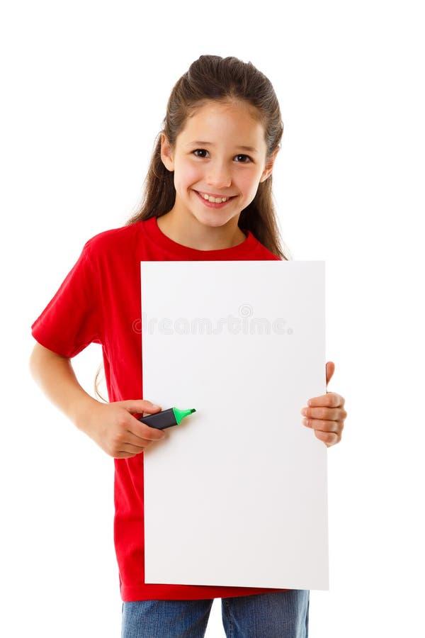 Menina com placa vazia foto de stock