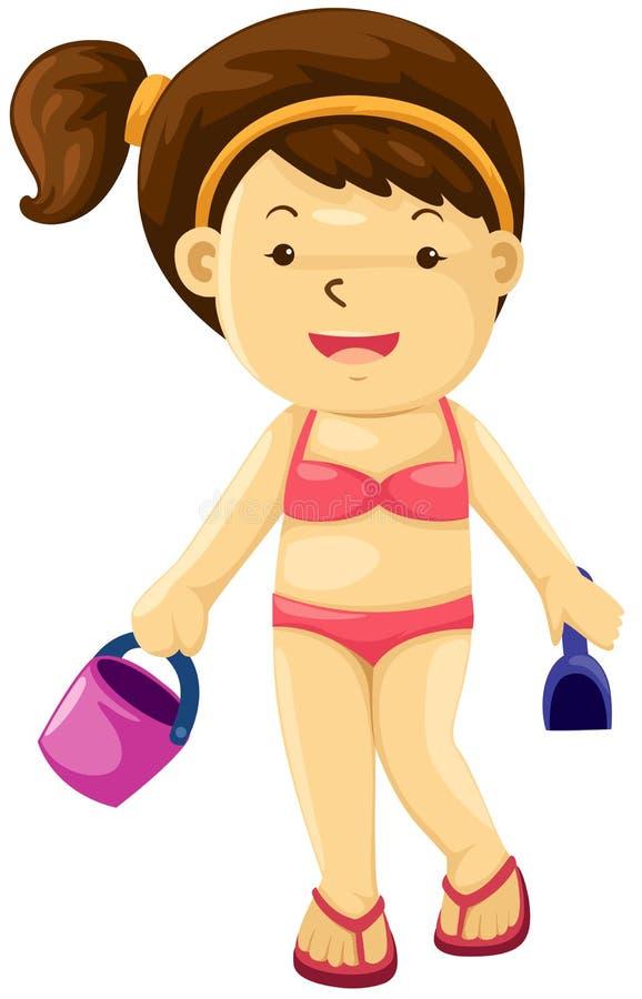 Menina com praia do brinquedo ilustração royalty free