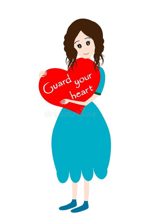 Menina com protetor do coração seu conceito do coração ilustração stock