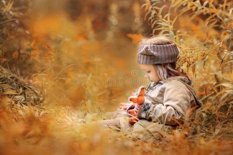 Menina com a raposa do luxuoso na floresta do outono imagem de stock royalty free