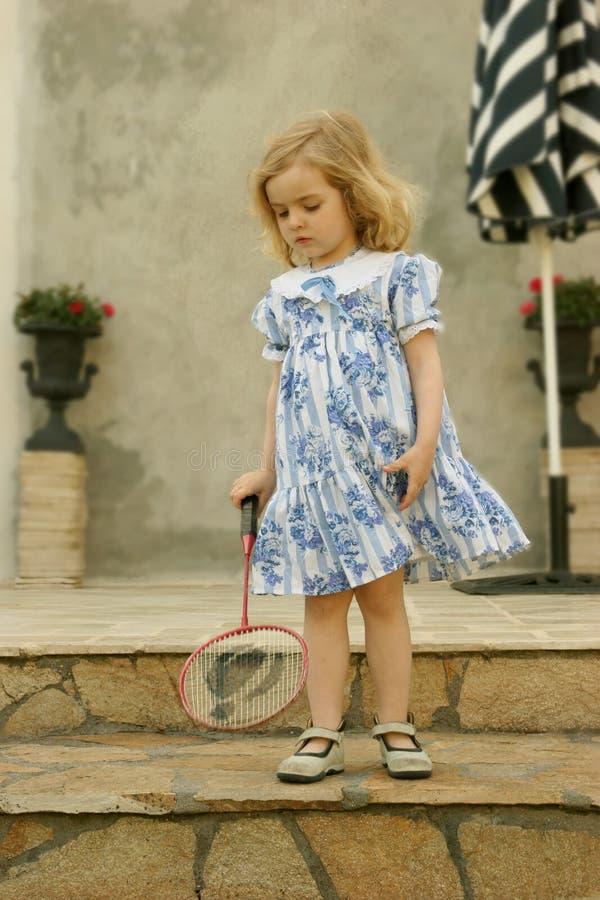 Menina com raquete fotografia de stock royalty free
