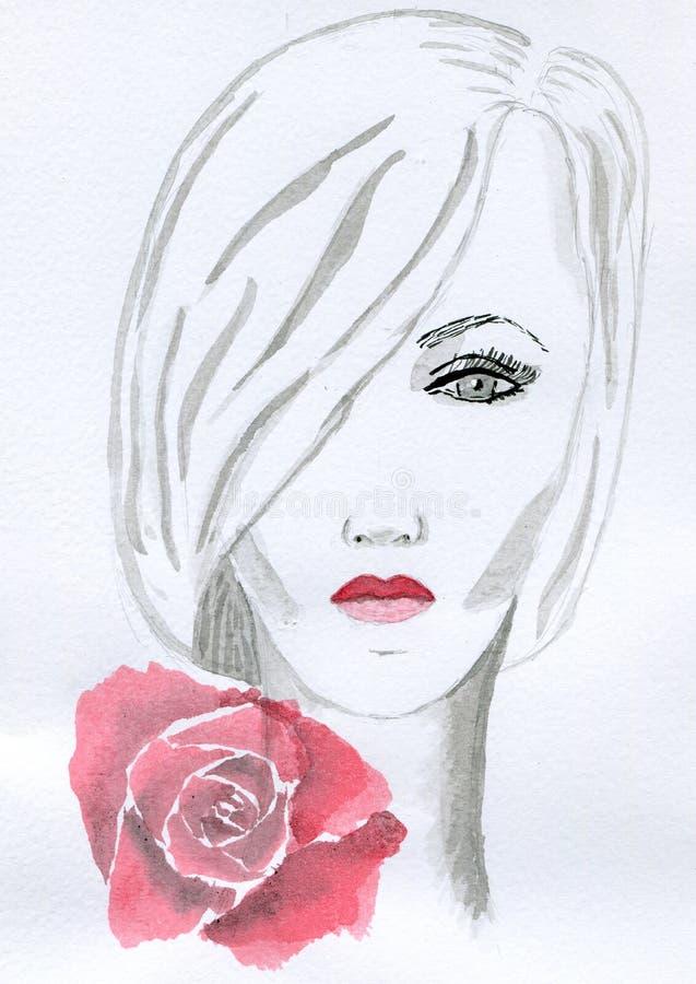 Menina com rosa do vermelho ilustração royalty free