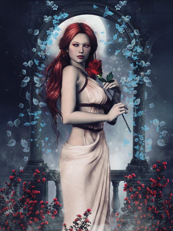 menina com rosas vermelhas ilustração royalty free