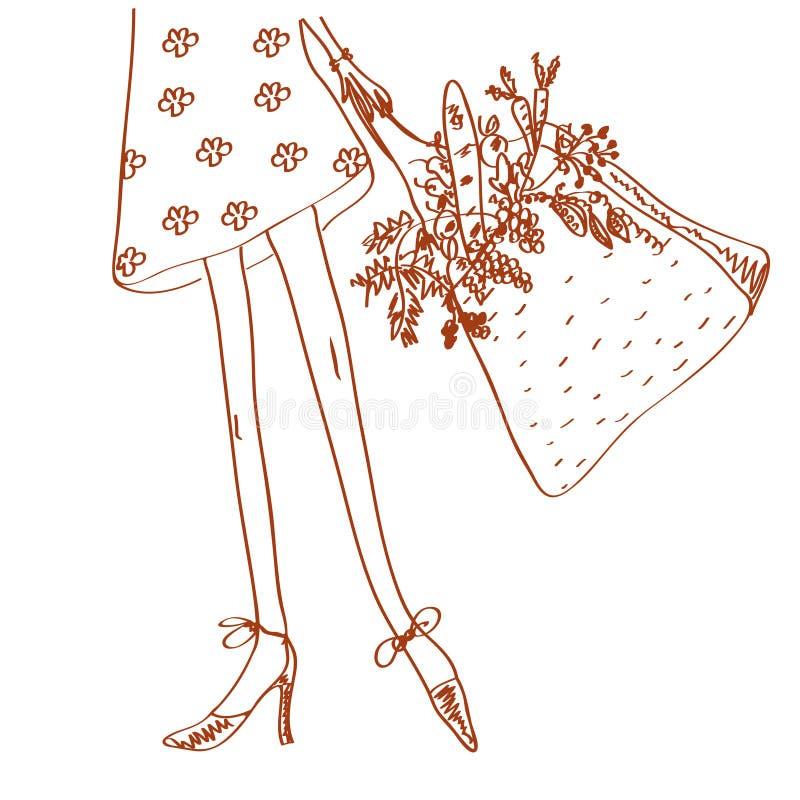 Menina com saco de compra ilustração stock