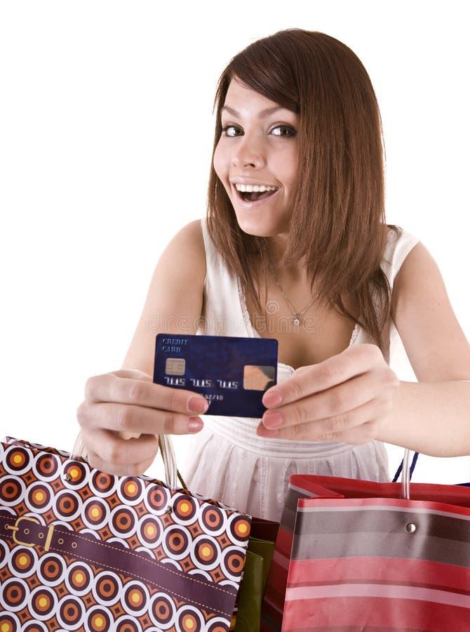 Menina com saco e cartão de crédito. imagem de stock royalty free