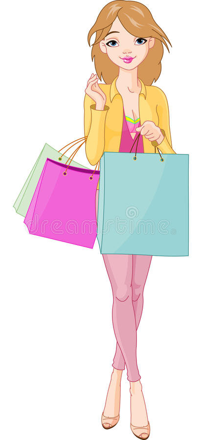 Menina com sacos de compra ilustração royalty free