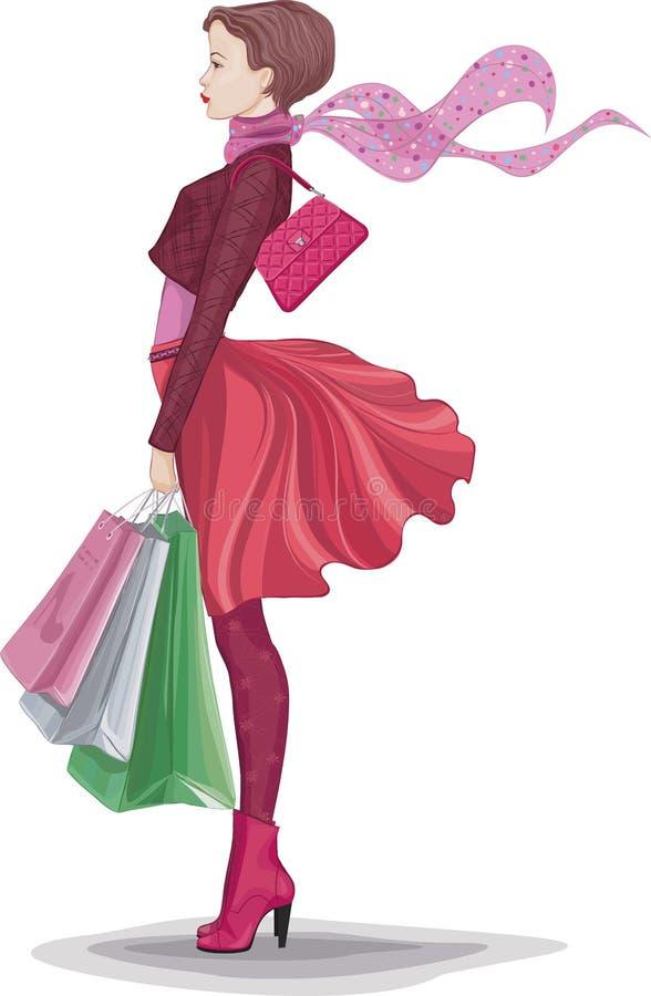 Menina com sacos de compras ilustração royalty free