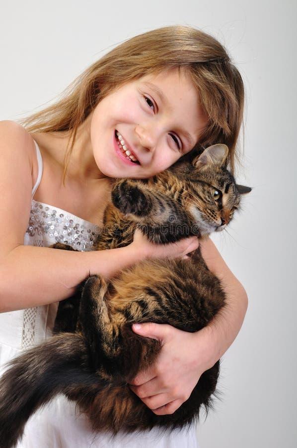 Menina com seu animal de estimação imagens de stock